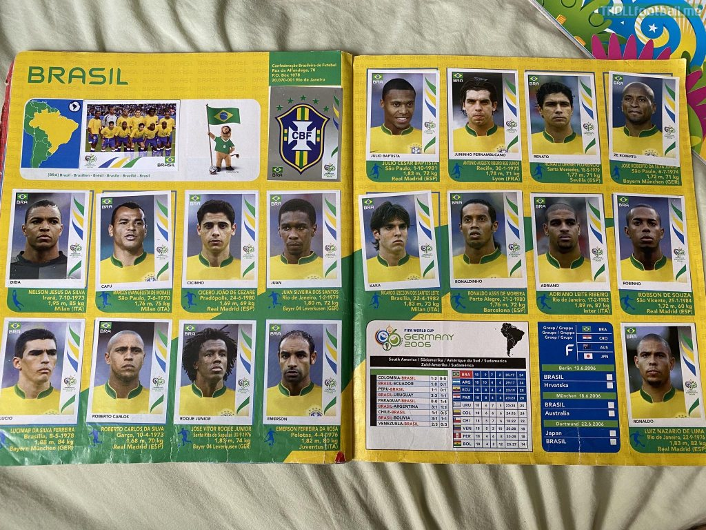 Brazil 2006 World Cup Squad - Panini sticker book