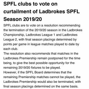 NEW: SPFL clubs are to vote on proposed curtailment of season in Championship, League 1 and League 2. More on @SkySportsNews #COVID19 https://t.co/xus116lgdNq