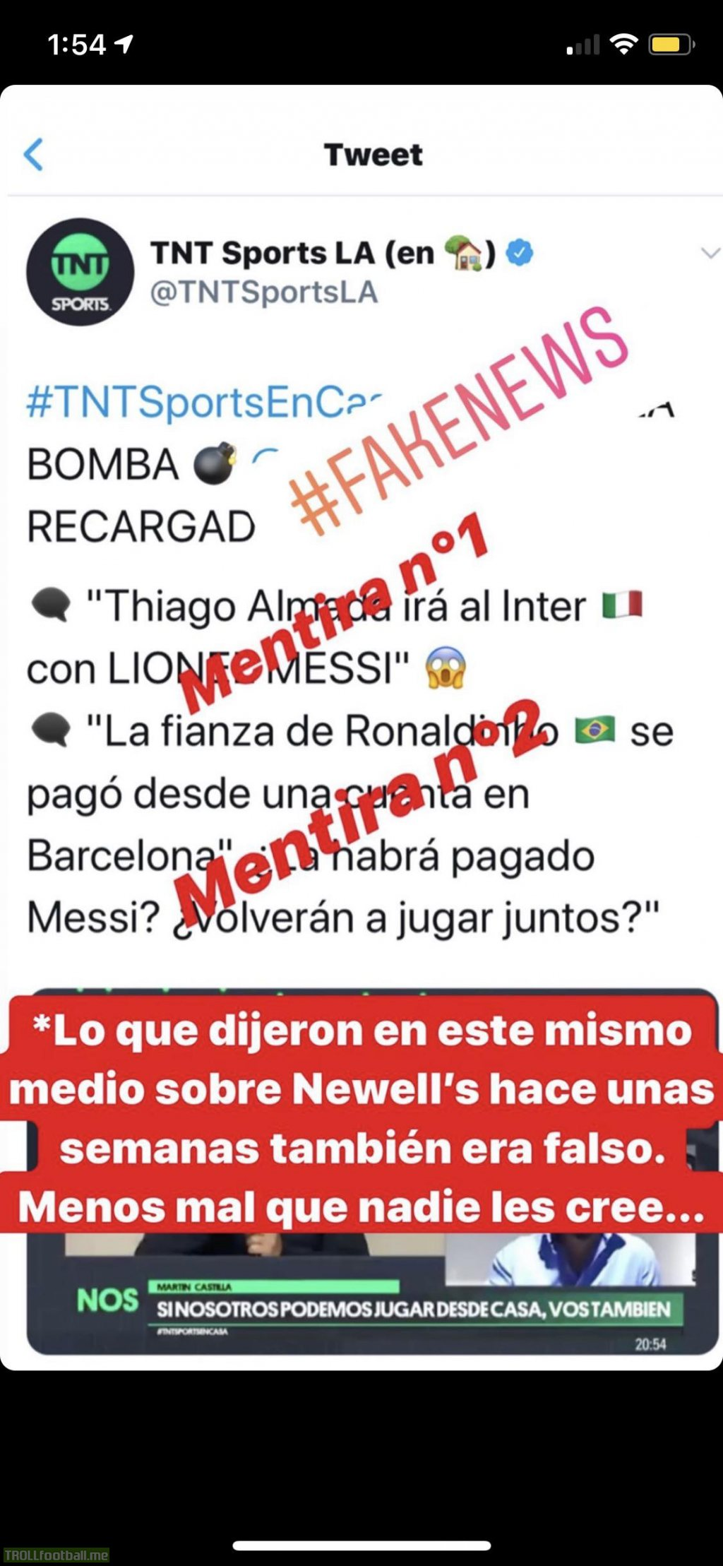 Messi calls out TNT Sports rumours of him going to inter along with Thiago Alcántara, as well as a rumour suggesting he paid Ronaldinhos bail so they could play together again.