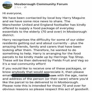 MUFC & England defender Harry Maguire has offered to supply a food package of essentials to all those 70 & over in the Mosborough area of South Yorkshire