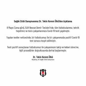 Following a clubwide testing of the coronavirus, Besiktas now confirms two cases of covid-19. A player and a staff member have tested positive.