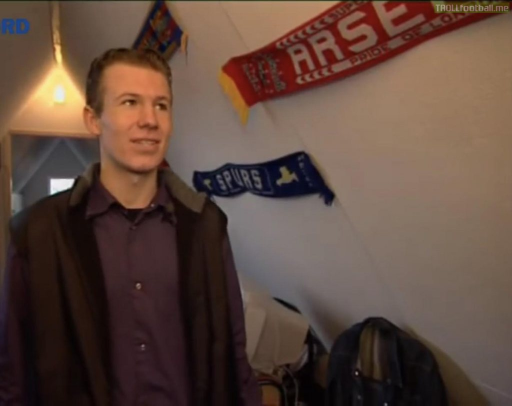 Arjen Robben in his former bedroom with scarves of his favourite clubs; Barcelona, Aresenal and Spurs