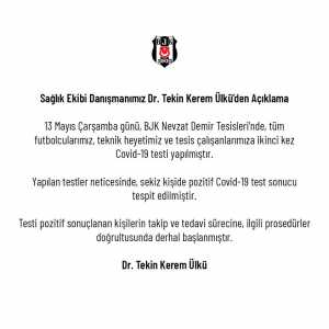Beşiktaş have confirmed 8 cases of COVID-19 at the club's facilities, including players and staff
