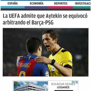 "[Juanma Rodriguez] ""UEFA admits that Aytekin failed in refereeing Barca-PSG (2017 UCL Ro16)"""