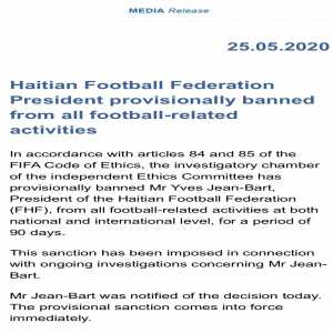 Haiti Football Federation president Yves Jean-Bart has been banned for 90 days by Fifa over sexual abuse allegations