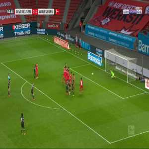 Bayer Leverkusen 0-2 Wolfsburg - Maximilian Arnold free-kick 64'