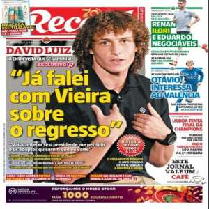 "David Luiz and his future: ""I already spoke with Vieira (Benfica's president) about the return. It will happen if the president allows me and the fans want me to come back."""