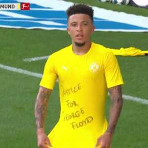 """Jadon Sancho revealed a """"Justice for George Floyd"""" shirt after scoring for Borussia Dortmund."""