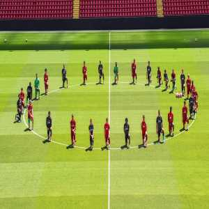 "Liverpool squad take a knee in training at Anfield- ""Unity is strength #BlackLivesMatter"""