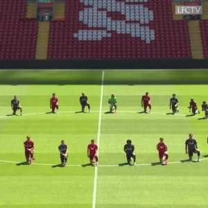 The entire Liverpool squad knelt in Anfield's centre circle ahead of today's training session in a powerful show of support for the #BlackLivesMatter movement