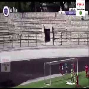 The Syrian league restarted today with fans banned from the stadiums. Check the building behind the stand when they score
