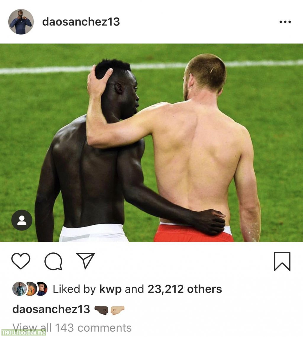 Davinson Sanchez's powerful Instagram post from today. It's more than a game.