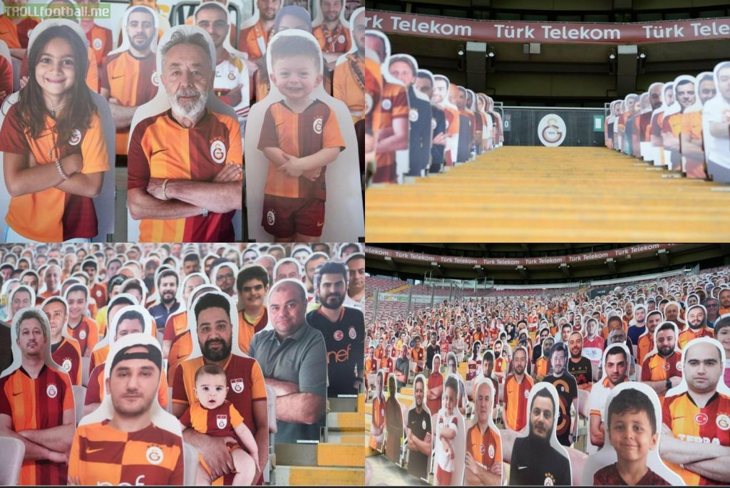 Galatasaray has placed cut-outs of fans in the stands, for the upcoming match.