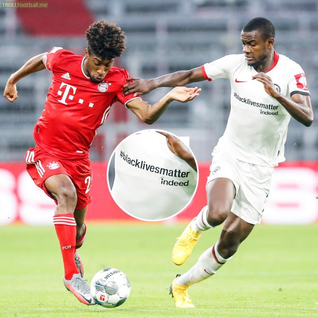 Frankfurt are playing in Black Lives Matter shirts against Bayern Munich tonight