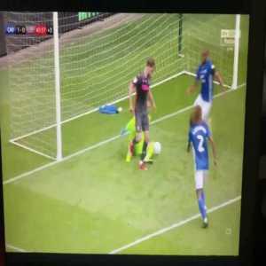Patrick Bamford denies Leeds United a goal by blocking his teammates shot