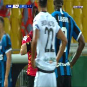 Tommaso Berni (Inter's backup GK) straight red card against Parma 68'