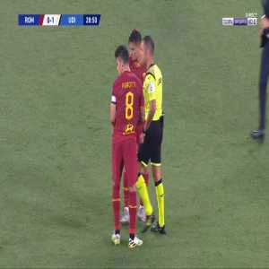 Diego Perotti (Roma) straight red card against Udinese 29'