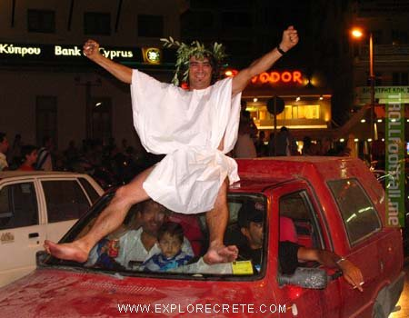 On this day in 2004, Greece pulls one the biggest shocks in European football history, beating the hosts Portugal 1-0. Here is my favorite photo of the celebrations that ensued.