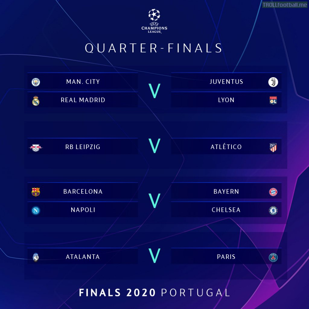 UCL quarter-finals draw results
