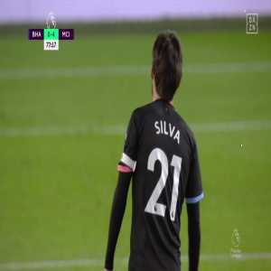 David Silva great pass to Mahrez - Man City vs Brighton