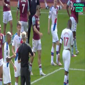 Christian Benteke red card after the final whistle following an off-the-ball incident with Ezri Konsa