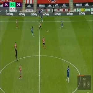 Jorginho/David McGoldrick entanglement leading up to Mousset's chance