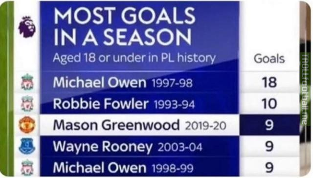 Most goals in a single season aged 18 or under in Premier League history