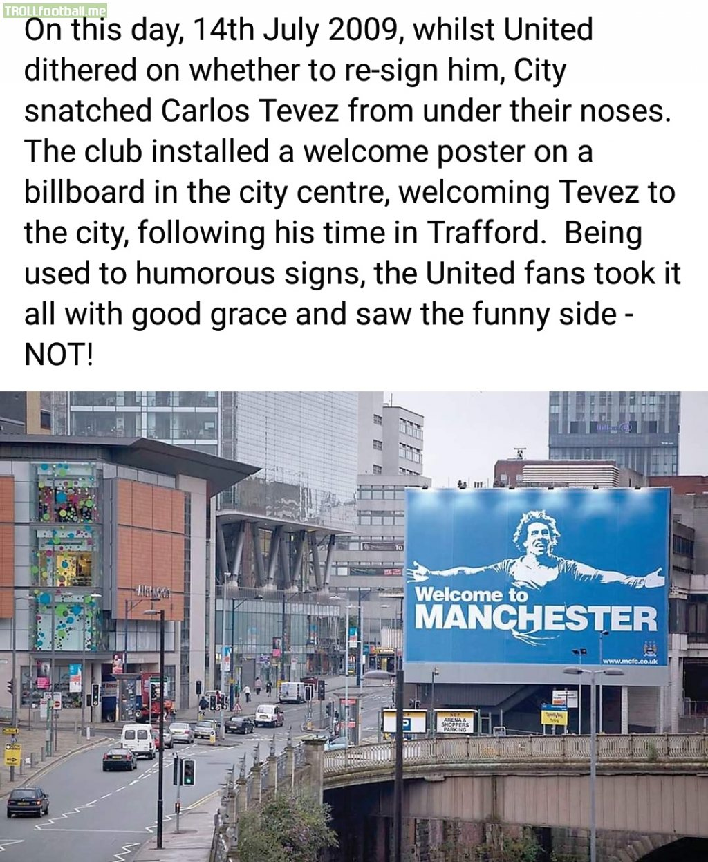 On this day 11 years ago, Carlos Tevez signed for Manchester City from Manchester United.
