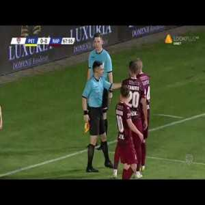 Romanian second division Petrolul vs Rapid: Petrolul Ploiesti missing the same penalty three times with three different players. Rapid's goalkeeper got two consecutive yellow cards for not standing on the goal line.
