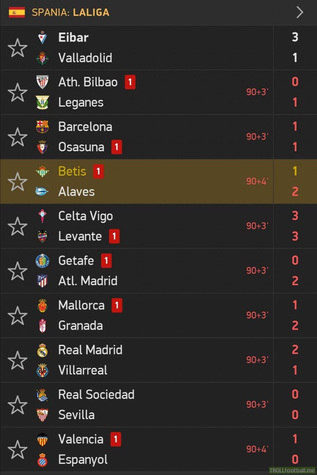 7 reds in La Liga tonight