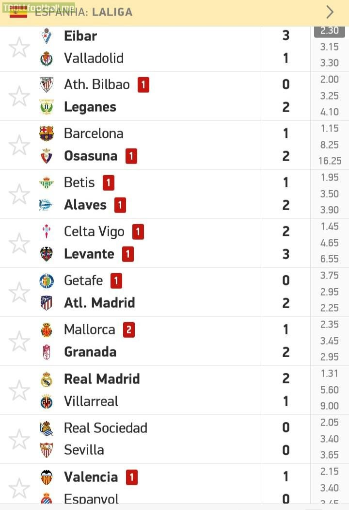 La liga's 37th round ends with a total of 10 red cards, averaging 1 red card per match.