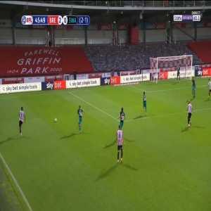 Brentford [3] - 0 Swansea - Mbeumo volley 46' [3-1 agg.]