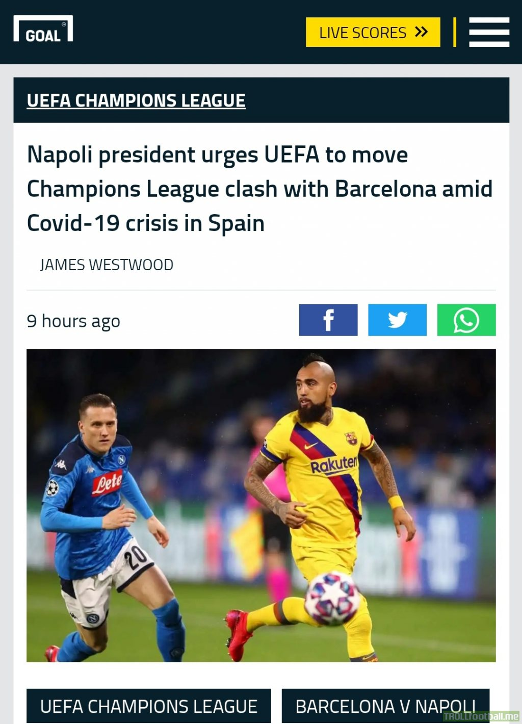 Napoli president urges UEFA to move Champions Leuage clash with Barcelona amid Covid-19 crisis in Spain. What are your thoughts. Should they move the location or leave it as it is