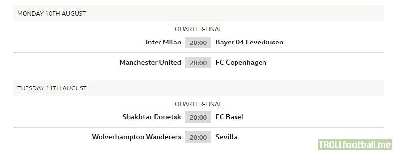 UEFA Europa League Quarter-final fixtures