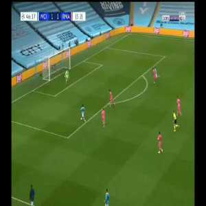 De bruyne's effortless through ball for sterling clear chance