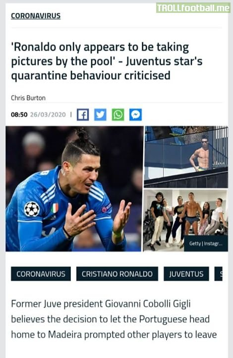 Ex Juventus Président lashes out at CR7 for being unprofessional!!