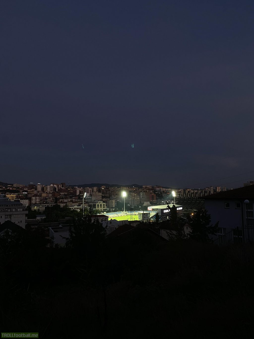 A live [image] of the Fadil Vokrri Stadium from the Europa League qualifier between Gjilani & APOEL Nicosia. Gjilani is the only Kosovar team left in the European competitions as two other teams (Prishtina & Drita) have been disqualified because of players testing positive with Covid-19.