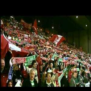 Flashback: Both Celtic and Liverpool fans singing You'll Never Walk Alone with Garry Marsden at Celtic Park before the 2003 UEFA Cup (Europa League) quarterfinal 1st leg