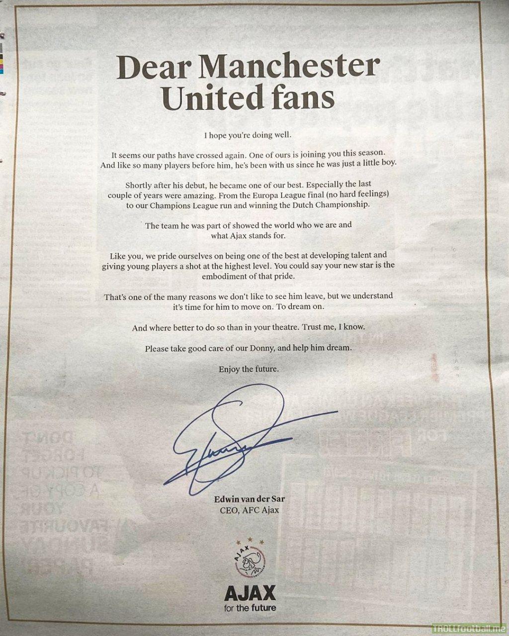 Edwin van der Sar's open letter to Manchester United on Donny van de Beek's transfer