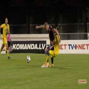 Vladislavs Gutkovskis (Latvia) straight red card against Andorra 71'