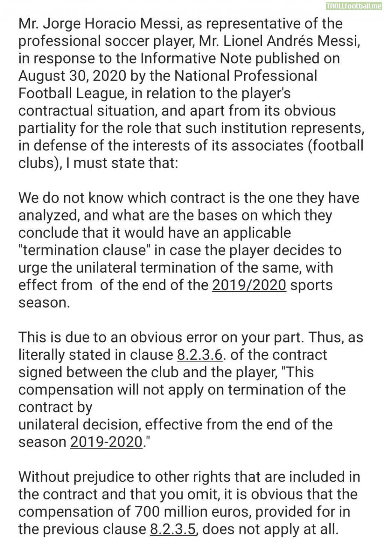 Full english translation of Jorge Messi's released statement to La Liga.