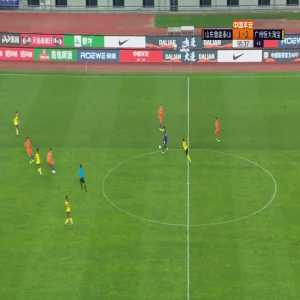 Shandong Luneng vs Guangzhou Evergrande with 2 red cards in last 2 minutes from Luo Guofu (Aloisio) & Dai Lin