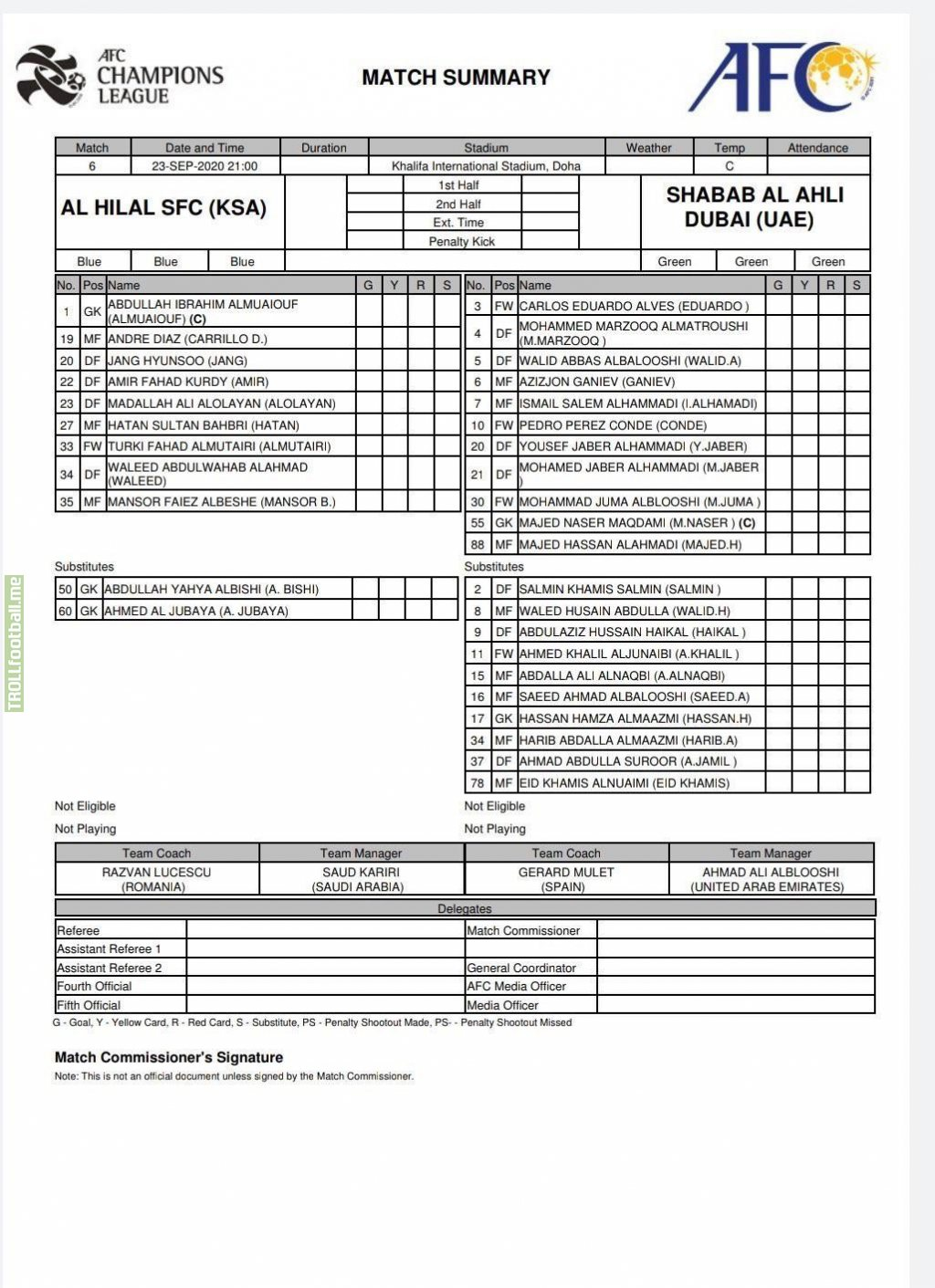 Al Hilal (KSA) vs AL AHLI (UAE) , alhilal starting 11 only contain 8 players duo to spread of corona among the players , and the AFC refuse to postpone the match .