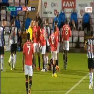 Toumani Diagouraga (Morecambe) straight red card against Newcastle 33'