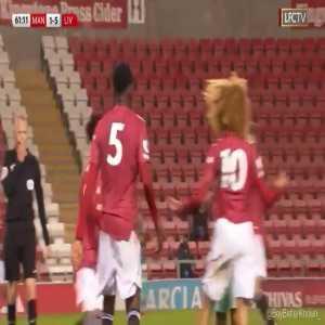 Leighton Clarkson (Liverpool U23's)sent off for a bad tackle. Shola Shoretiere (Man Utd U23's) following him for his retaliation.