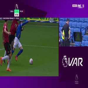 Brighton penalty revoked by VAR vs Manchester United 49'