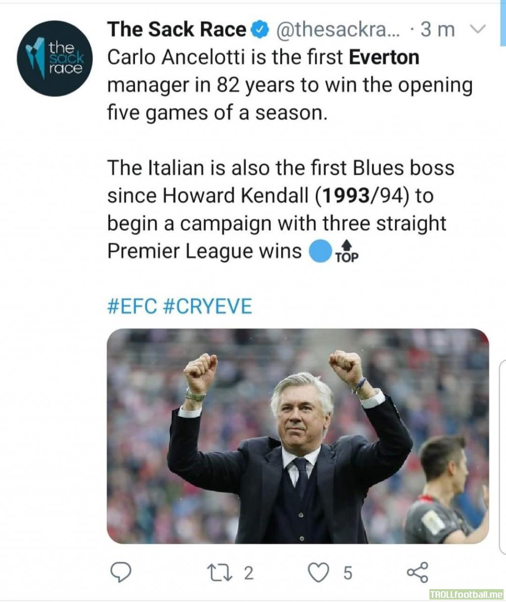 Carlo Ancelotti is the first Everton manager in 82 years to win the opening 5 games of a season. Also the first manager to win the first 3 premier league games for Everton since 1993