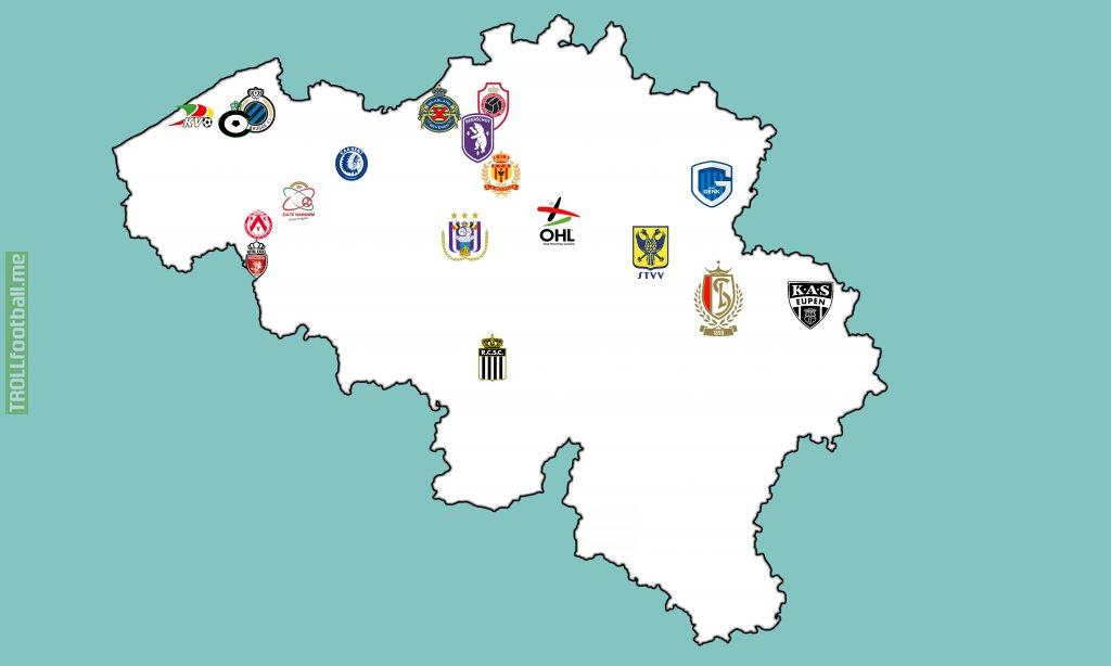 Map of all Belgian teams of the 2020-2021 season