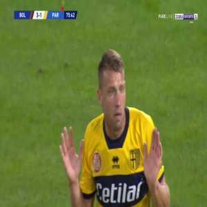 Simone Iacoponi (Parma) straight red card against Bologna 76'