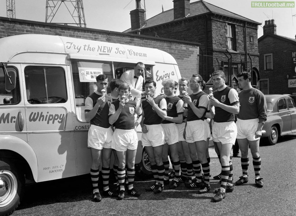 Burnley players enjoying ice-cream before their FA Cup final against Tottenham in 1962.